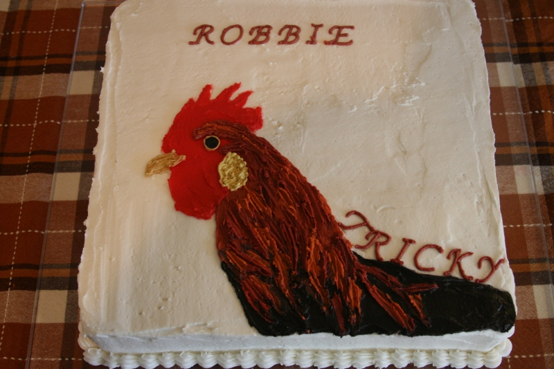 rooster cake 10 26 08 life with three boys and a splash of purple