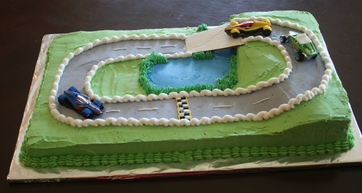 Cake Decorating Car Race Track : race track cake life with three boys and a splash of purple!