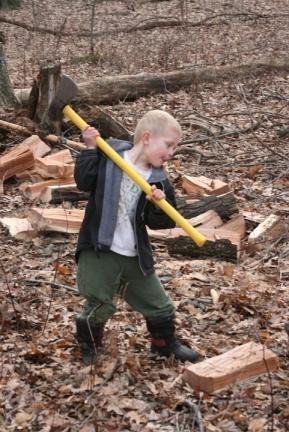 4-4-09 making firewood Robbie mall