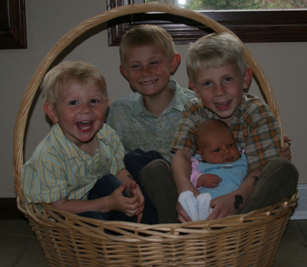 kids in basket
