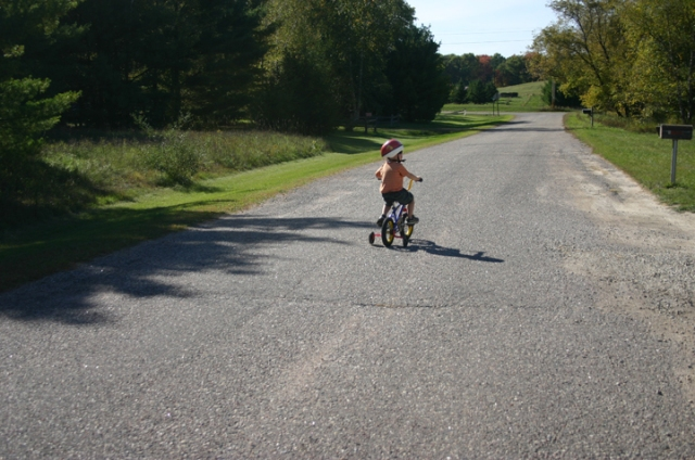 Henry biking home