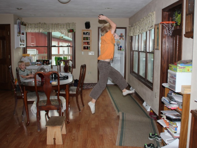 basketball in the kitchen