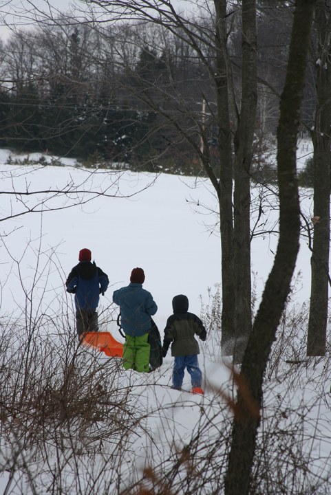 snow shoeing boys