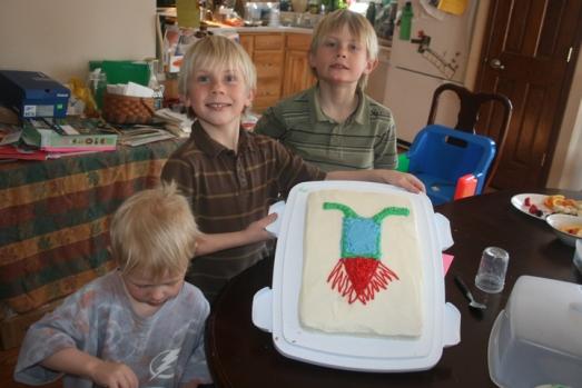 Jack's b-day boys w cake
