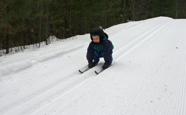 skiing Henry down