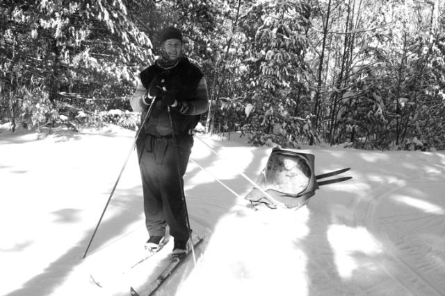 Skiing sled b&w