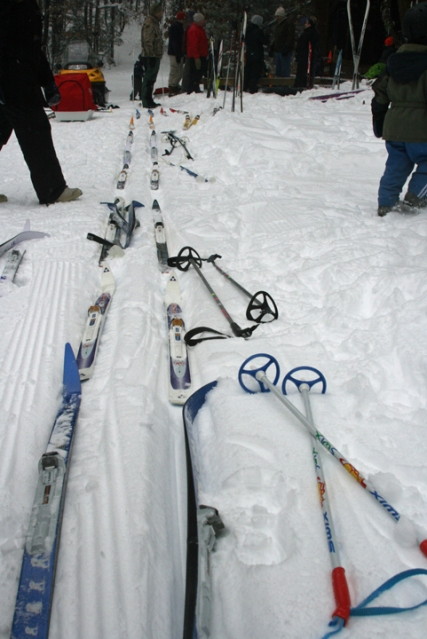 skis at shelter