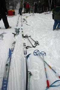 skis at shelter