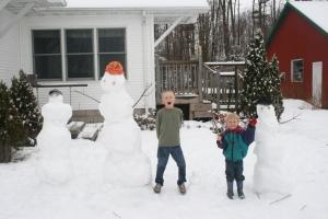 Snowman & boys