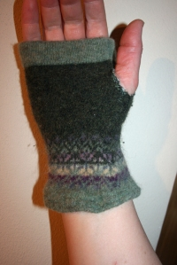 Upcycled sweater fingerless gloves