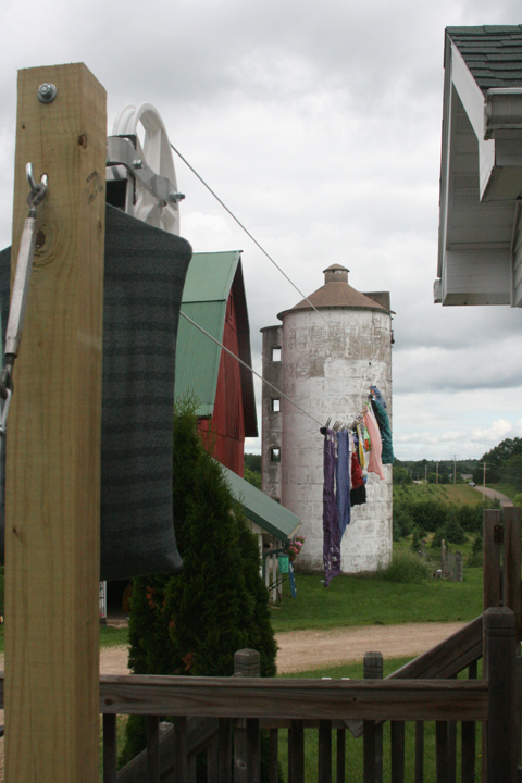 clothes line on silo