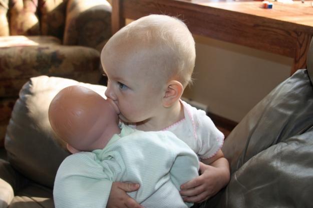 baby doll Nola Mae kisses