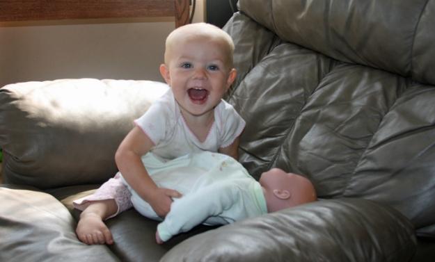 baby doll Nola Mae smile