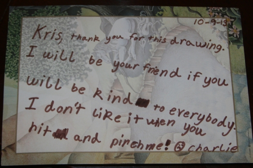Charlie's note to Kris