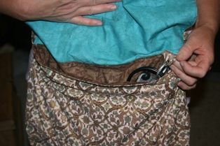 bag old curtain inside