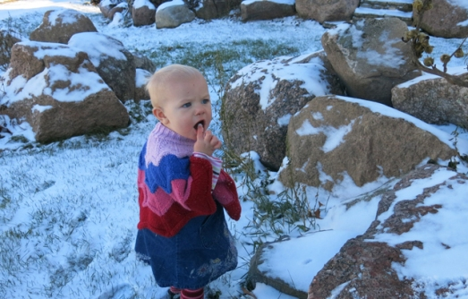 Nola Mae eating snow