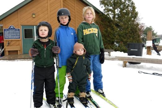 Skiing four kids