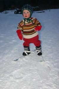 skis Robbie 1st time