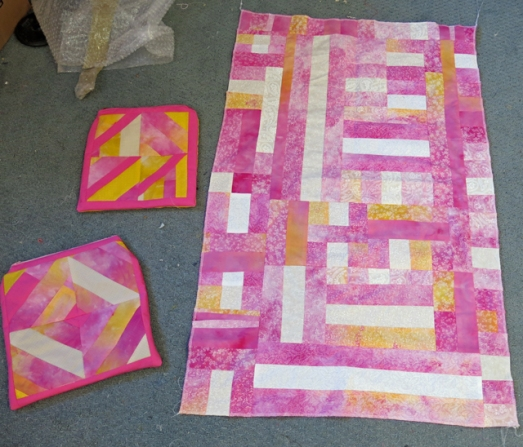 ice dye pink & yellow bags & quilt
