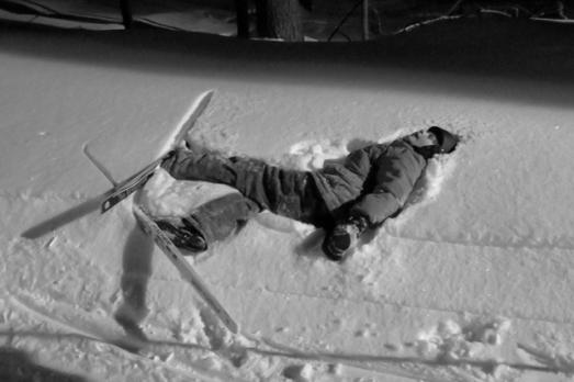 Skiing Robbie snowbank crash