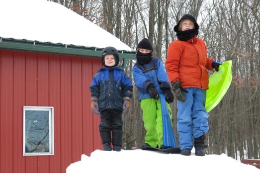 Sledding hill boys