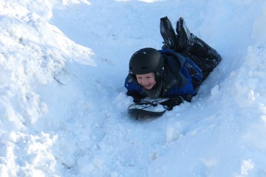 sledding smile