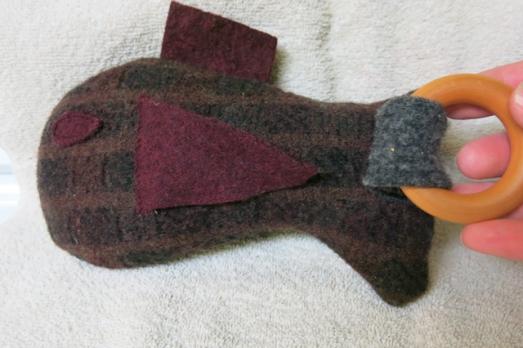 wool sweater fish w wooden teether