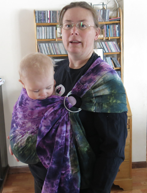 ice & snow dye purple & green ring sling with toddler