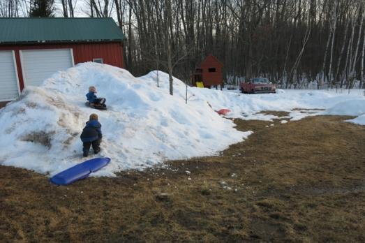 spring time sledding hill
