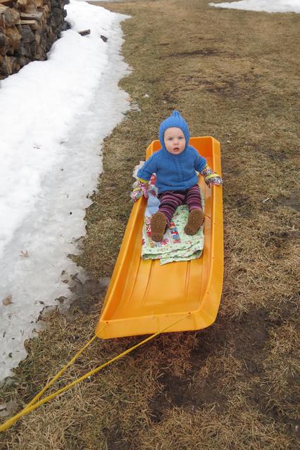 spring time sledding