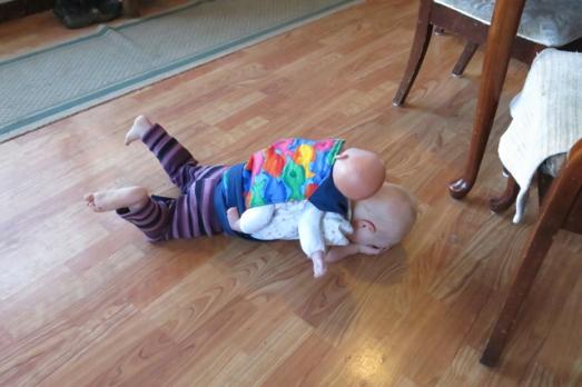 babywearing flopping on the ground 2