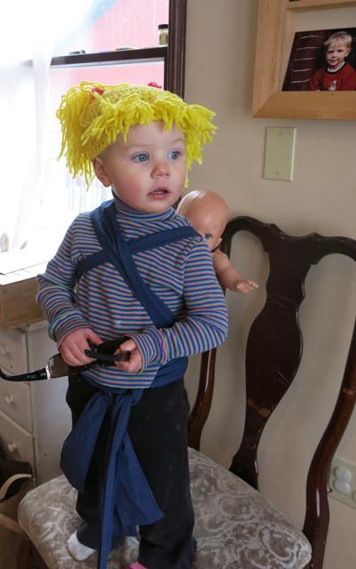 Nola Mae fake hair babywearing