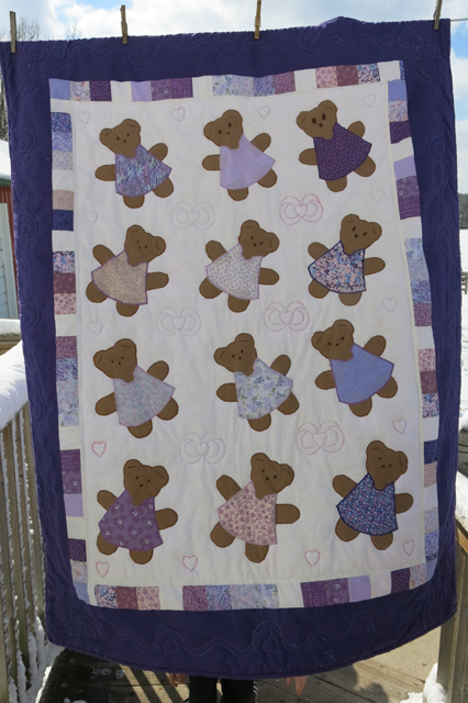 quilt bears in purple Nola Mae