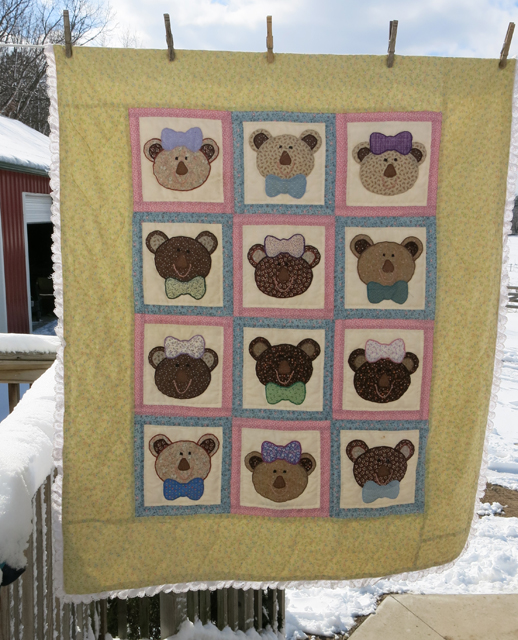 quilt bears with bows Charlie