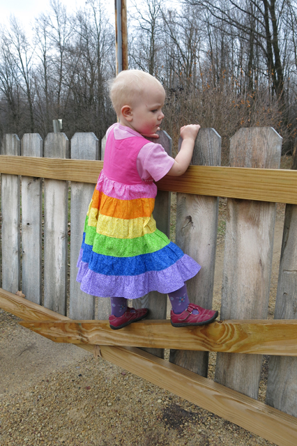 Rainbow ruffle dress on gate