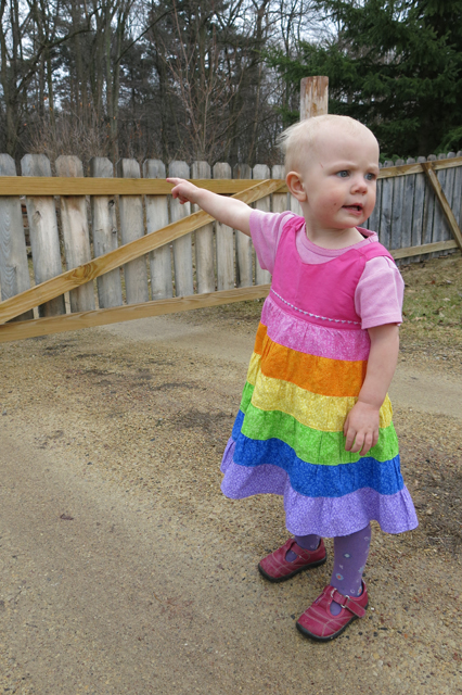 rainbow ruffle dress on Nola Mae