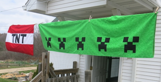 Minecraft Creeper valance & TNT pillowcase