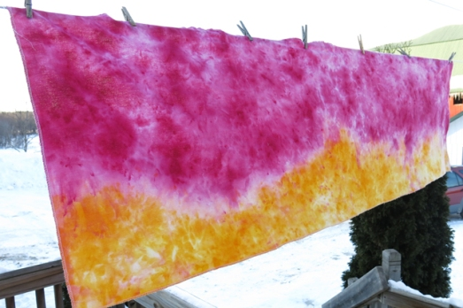 snow dye ring sling pink & yellow