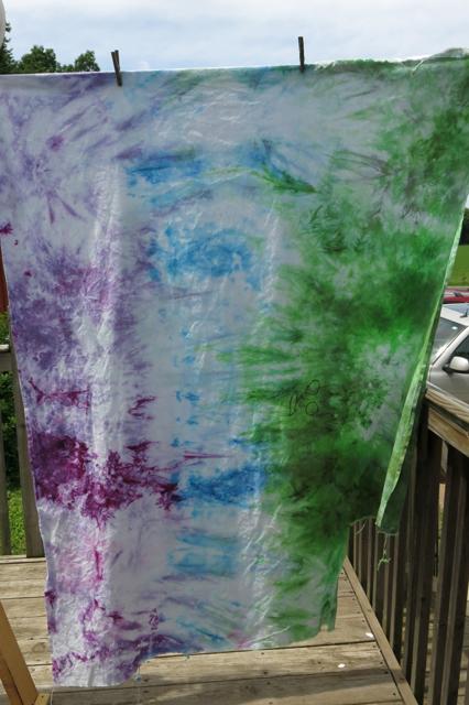 dye LWI green blue purple old sheet