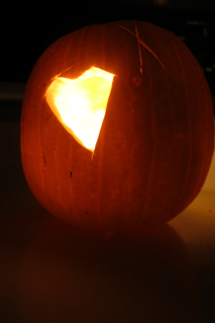 Henry's pumpkin glowing