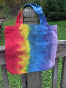 dye rainbow canvas bag