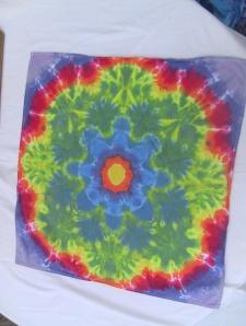 dye tie flour sack mandala rainbow