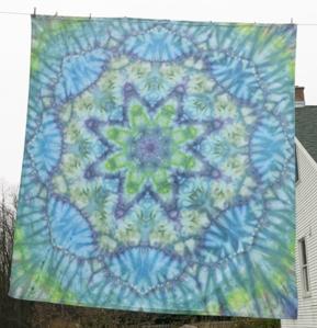 dye tie mandala purples & green
