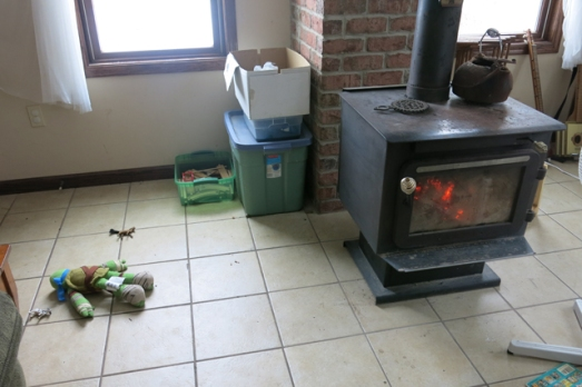 Normal dye projects by wood stove
