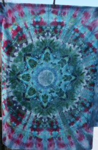 dye mandala fabric blue green purple