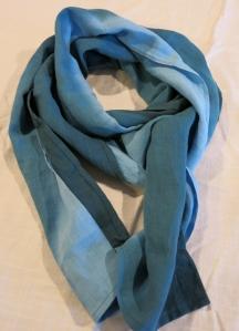 dye scarf linen ombre blues 2