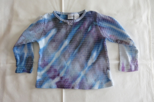 dye shirt 3T purple and blue slants