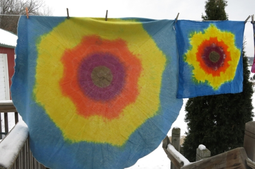 dye sunflower table cloth and towel