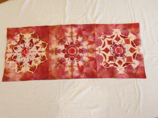 dye table runner Mandalas Aunt Linda