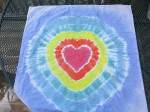 dye towel rainbow heart